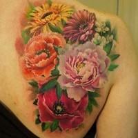 vari colori vivaci bellissimi fiori tatuaggio sulla schiena
