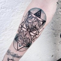 Dotwork style hourglass with mountains forearm  tattoo
