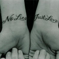Double no lies, just love quote tattoo on arms