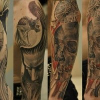 Dramatic realistic looking statues of gargoyle and tomb stones tattoo on sleeve
