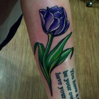 Elegant american classic word tattoo with tulip on arm