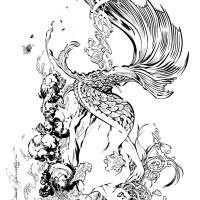 Elegant Pretty Black And White Mermaid Splashing In Water Tattoo