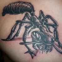 Evil black-and-white ant tattoo for men on chest