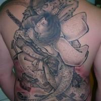 emozionante lotta samurai tatuaggio pieno di schiena