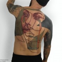 Face of women tattoo for men by Minervas Linda