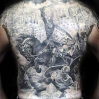 guerriero combattente su cavallo tatuaggio pieno di schiena