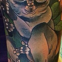 Frightened colorful lemur on tree branch tattoo on upper arm