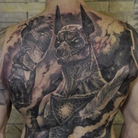 Full back Anubis with heart and feather tattoo