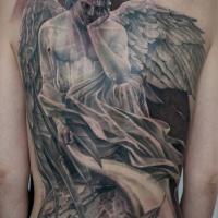 Tatuaggio a schiena piena con angelo triste e orologio