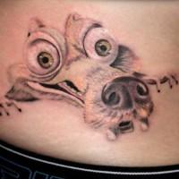 Funny cartoon Scrat rodent head tattoo on side