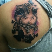 Funny cartoon colorful hippo and black butterflies tattoo on back
