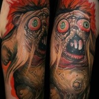 Tatuagem de braço superior colorido engraçado de monstro legal