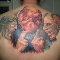 Engraçado projetado colorido braço tatuagem do diabo com Deus e criança