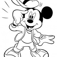 Friendly outline Minny and Mickey Mouse with dog tattoo design