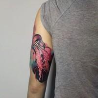 divertente medusa rosa tatuaggio a mezza manica