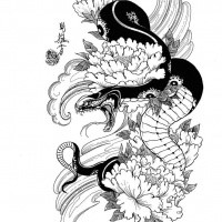 Furious Japanese Snake With Peonies In Water Tattoo Design