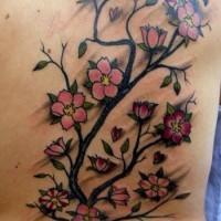 glorioso classico americano tatuaggio con albero di sakura sulla schiena