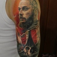 Gorgeous viking tattoo by Sergey Shanko