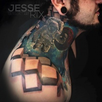 Graet spaceman and 3d cubes tattoo on neck and shoulder
