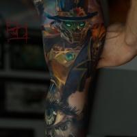Graet steampunk robot tattoo on inner arm
