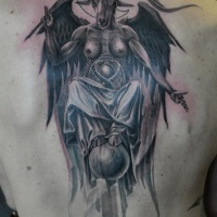 Great Baphomet tattoo on upper back