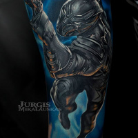Great Black Panther tattoo on arm