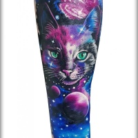Great Cat and space tattoo on forearm