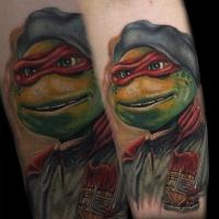 Gran tatuaje de ninja de Raphael Tortuga