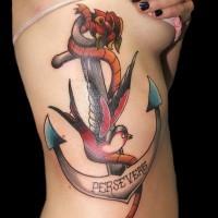 grande ancora tatuaggio scritto persevere  e rondine tatuaggio su costolette