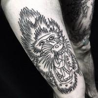 Großartiges Tattoo mit schwarzweißem Paviankopf an der Hüfte