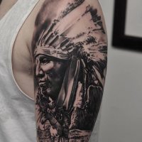 Great black and white native american tattoo on shoulder
