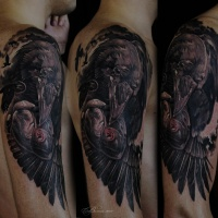 Great black raven tattoo on shoulder