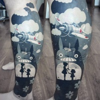 Great cartoon tattoo on leg