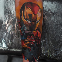 Great colorful Ironman tattoo on forearm