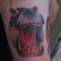 Great colorful crying hippo tattoo on arm