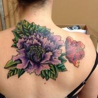 grande colorato fiore peonia tatuaggio su schiena