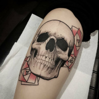 Great dotwork skull and geometry roses tattoo