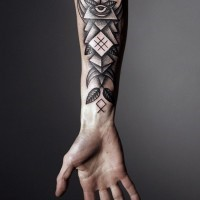 Great mens geometric tattoo on right forearm