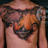 Great mystical skull tattoo on chest for men