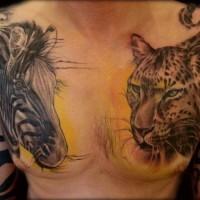 realistico grande inchiostro coloratoteste  zebra e giaguaro tatuaggio su petto