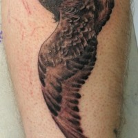 Great realistic hare and owl tattoo on shin