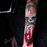 Great skeleton tattoo on arm