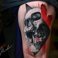 Great skull tattoo on thight