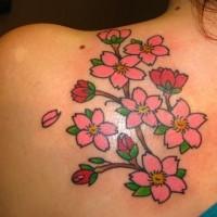 grande tradizionale fiori gelsomino rosa tatuaggio su schiena