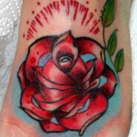 Great Traditional Red Rose Flower Tattoo For Girls On Foot