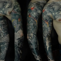 Great viking theme full sleeve tattoo with Thor, wolf and ravens