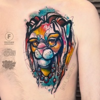 Great watercollor tattoo of lion
