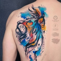 Great watercolor sketch graphics tattoo on back