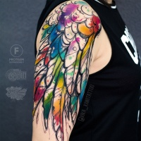 Great wing on shoulder tattoo