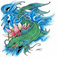 Superb grey ink oriental demon and koi fish tattoo design for Blue ribbon koi